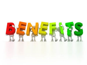 the word benefits spelled out