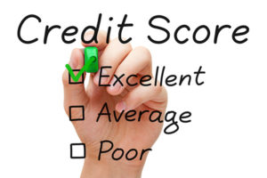 hand with the words credit score