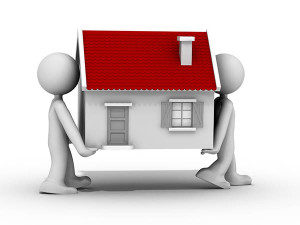illustration of 2 people carrying a house