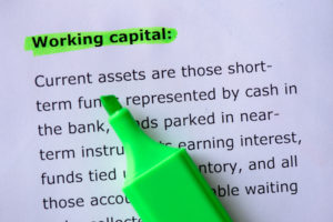 Working capital words highlighted on the white background