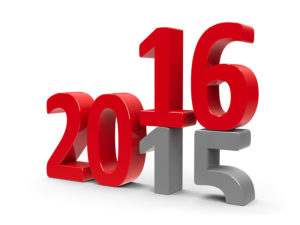2015-2016 change represents the new year 2016 three-dimensional rendering