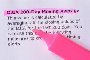 DJIA 200-Day Moving Average words highlighted on the white background
